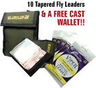 10 x KNOTLESS TAPERED Fly Fishing 12ft Leaders & Leader Wallet **RRP £26.99**