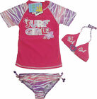 SG3 Girls 3 Piece Pink Swimsuit UPF 50+ Sizes 2-3, 3-4, 4-5, 5-6, 6-7 Years