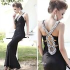 Sexy Ladies Evening Party Prom Formal Gown Wedding Bride Sparkle Dress 6-14 2085