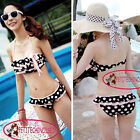 Cute Polka Dot Bow Knot Layered Ruffle Bikini Set Bathing Suit Swimsuit UW138