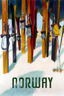 Skis Ski Trail Norway Winter Sport Norwegian Europe Vintage Poster Repo FREE S/H