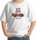 BIG BROTHER FIRE TRUCK CUSTOM KIDS T-SHIRT white grey