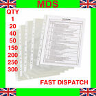 A4 CLEAR PLASTIC PUNCHED POCKETS - GREAT QUALITY - FREE POSTAGE - FAST DISPATCH!