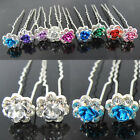 20pcs Rose Clear Crystal Bridal Wedding Hair Pins Clips 9 Colors