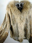 100% Real Knitted Rabbit Fur Coat Outwear Jacket Raccoon Trim Huge Collar Spring