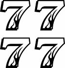 7 Flame Number Seven Sticker Decal Set of 4: 4 RC Laptop Car Window Kart Racing