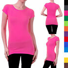 Short Sleeve Basic T Shirt Solid Top Long Length Fitted Cotton Spandex - S M L