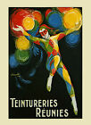 Fashion Colorful Pierrot Clown Teintureries French Vintage Poster Repro FREE S/H