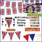 100 Metres of Union Jack Flag Long Bunting Olympic Jubilee Torch Street Party