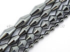 100pcs Natural Black Jet Hematite Gemstones Long Bicone Beads 6mm 8mm 10mm 12mm