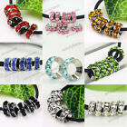 Wholesale Crystal Large Hole Spacer European Beads Fit Charm Bracelet 20/50/100