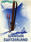 Wengen Switzerland Ski Winter Sport Skis Mountain Vintage Poster Repro FREE S/H