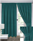 Teal Elegant Jacquard Spot Weave Ready Made Fully Lined Tape Curtains
