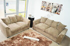 JUMBO CORD Corner Sofas + 3 Seater, 2 Seater, CARAMEL DYLAN Fabric Sofas Couches