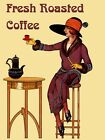 Fashion Lady Girl Fresh Roasted Coffee Tea Vintage Poster Repro FREE S/H