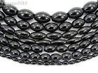 Natural Blak Onyx Gemstone Rice Olivary Beads 16'' 4mm 5mm 6mm 8mm 9mm 10mm 12mm