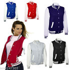 Ladies Varsity Jacket Baseball Bomber Size 10 to 16   Small - XL  6 Colours NEW