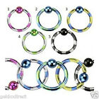 Duo Tone Titanium Anodised Captive Bead Ring / Lip / Earring / Nose Hoop /Nipple