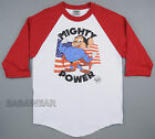 Mighty Power Baseball Raglan T-Shirt Mouse Retro Vintage Look American Flag BABA