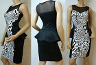 Ladies Mesh Insert Sleeveless Peplum Bodycon Skirt Dress (LEO) UK SIze 8 - 14