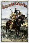 Horse Buffalo Bill Indian West Cowboy Vintage Poster Repro FREE SHIPPING