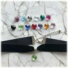 Gorgeous Black Velvet Choker with Swarovski Crystal Heart-12colours available