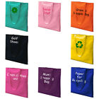 PERSONALISED ~COTTON SHOULDER TOTE BAG SHOPPING BAGS Lots of COLOURS