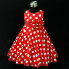 R3121 Reds Polka Dot Christmas Wedding  Girls Party Dress SZ 2,3,4,5,6,7,8,9,10Y