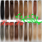 New Any Length Clip In Real Human Hair Extensions Full Head Black Brown Blonde