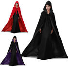 Stock ! Black / purple Velvet Hooded Cloak Coat Wedding Red Cape Shawl Halloween