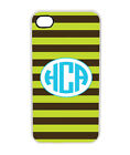 Stripe Pattern Personalized iPhone 4 4S Custom Monogrammed Hard Case Cover