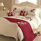 CREAM RED GOLD EMBROIDERED FLORAL BEDDING SET DUVET COVER PILLOWCASES RUNNER