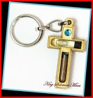 JESUS CROSS CHRISTIANITY WOODEN KEY CHAINS FROM HOLYLAND HOLY WATER, SOIL, GEMS