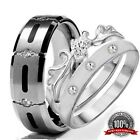 His & Hers 3 pieces Mens & Womens STAINLESS STEEL & TITANIUM wedding ring set