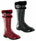 Patent Black Red Fur Top Quilted Mid Calf Zip Flat Girls Boots Size 10-3 UK