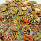 "100pcs 5 8"" 15mm Mixed Flower Heart Pattern Wood Buttons Fit Sewing Scrapbook"