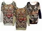 New Womens tiger Sparkly print batwing top ladies animal print knitwear jumpers