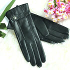 Women's Kid leather Cashmere Lined Gloves w/ adjustable belt Gold plated logo