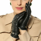 Winter Nappa Leather Gloves adjustable buckle cashmere Lining Gold Plated Logo