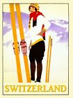 Switzerland Lady Ski Winter Sport Skiing Vintage Poster Repro FREE S/H