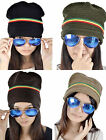 Unisex Soft Ribbed Winter Ski Hat - Tri Color Stripe on Rasta Slouchy Beanie