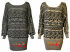Batwing Sweater Jumper Fine Knit Printed Flower With Stud Christmas Knitwear Top