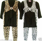 BN.GIRLS**LEOPARD PRINT ATTACHED SHRUG TOP & HAREEM TROUSERS  SET (multi)