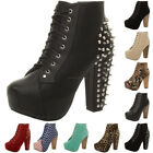 WOMENS LADIES LACE UP PLATFORM WOODEN BLOCK HEEL BOOTIES SHOES ANKLE BOOTS SIZE