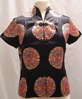 (NEW) Asian Inspired Chinese Medallion Print Silk Blouse, US Szie: S/M/L/XL