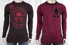 AFFLICTION Men's DO IT AGAIN reversible flocked Thermal Shirt Red Black A6375
