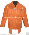 Mens Tan Cowboy Cruiser Fringe Tassle Cowhide Suede Leather Jacket