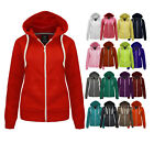 NEW WOMENS LADIES PLAIN ZIP HOODIE SWEATSHIRT FLEECE HOODED JACKET SIZES 6-14