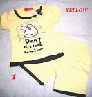 Baby Girls Summer Outfit Sets,Bunny Rabbit embroided T.shirt & shorts1-2,3 years