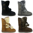 NEW WINTER WOMENS LADIES ANKLE FUR LACE UP FLAT SNOW CALF YETI BOOTS SIZE 3-8